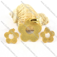 Gold Flower Stainless Steel jewelry set-s000091