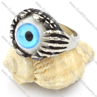 blue eye skull ring in stainless steel for men - r000321