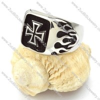 Stainless Steel Fire Cross Ring -r000357