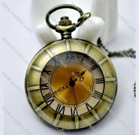 Big Pumkin Shaped Pocket Watch in Brass Tone -PW000157