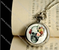 White Epoxy Skull Pocket Watch -PW000239