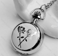 Silver White Rose Pocket Watch -PW000315