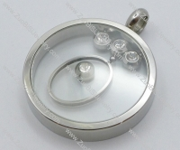 Stainless Steel Floating Pendant with Rhinestones -JP050312