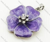 Stainless Steel Royal Purple Enamel Flower pendant - JP090326