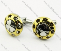 Gold Stainless Steel Whitetip Clover Cufflinks - JC280004