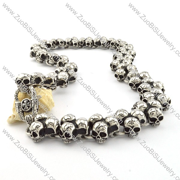 Motorcycle Chain Link Skull Necklace Huge in Stainless Steel