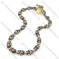 21 Ruby-red Eye Skull Stainless Steel Necklace in Length of 61cm for Strong Mens -n000205