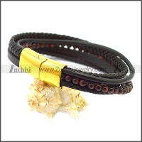 Stainless Steel Leather Bracelet b009807H1