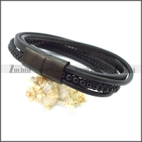 Stainless Steel Leather Bracelet b009807H2