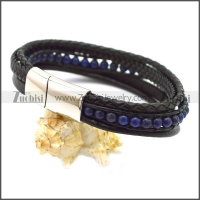 Stainless Steel Leather Bracelet b009808H4