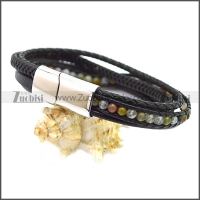 Stainless Steel Leather Bracelet b009808H5