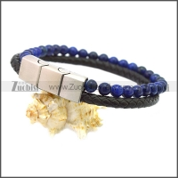 Stainless Steel Leather Bracelet b009812H